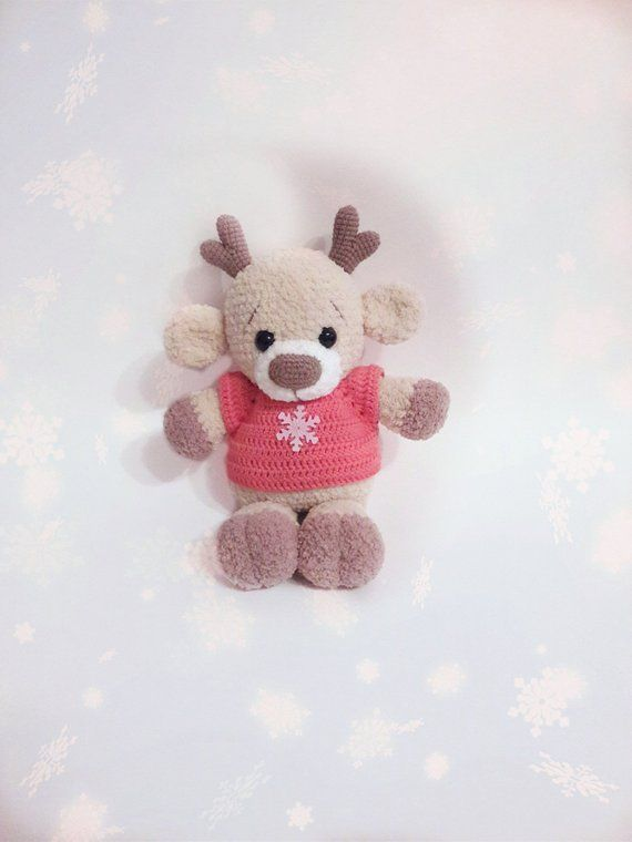 Stuffed Deer Crochet deer Plush deer Puffy deer Amigurumi