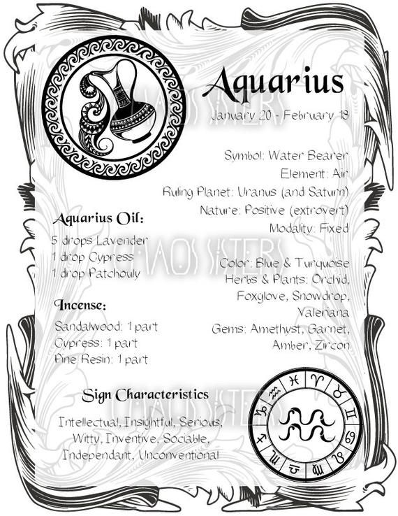 Aquarius Zodiac Sign Book of Shadow Printable PDF, Wicca, Astrology, Horoscope, Correspondence, Grimoire Page, Magic Journal, Witch Book – Zodiac Facts