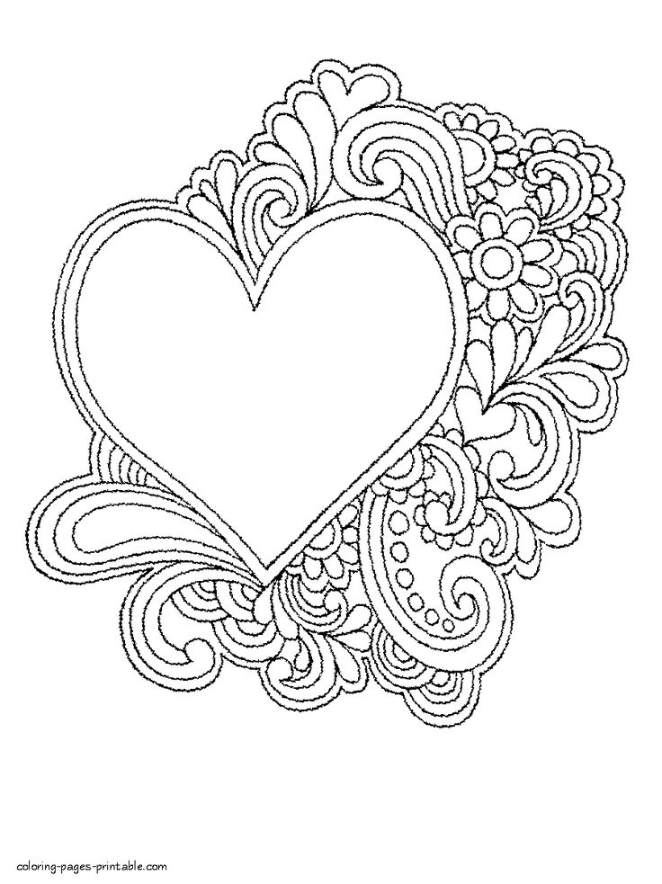 98 Coloring Pages Flowers And Hearts Free Printable