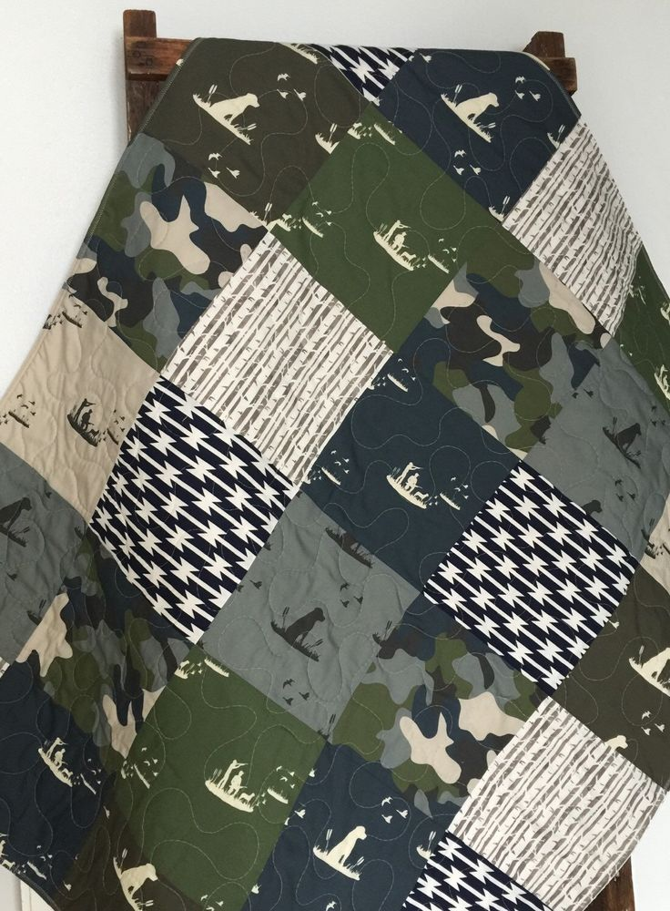 Baby Quilt, Boy, Dogs, Ducks, Hunting, Guns, Camo, Woodland, Father, Son, Navy, Green, Gray, Blue, Crib Bedding, Baby Bedding, Children by CoolSpool on Etsy https://www.etsy.com/listing/258544901/baby-quilt-boy-dogs-ducks-hunting-guns