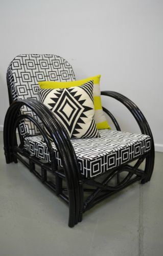 retro, vintage, UPCYCLED, ART DECO CANE ARMCHAIR, bamboo, lounge, outdoor chair