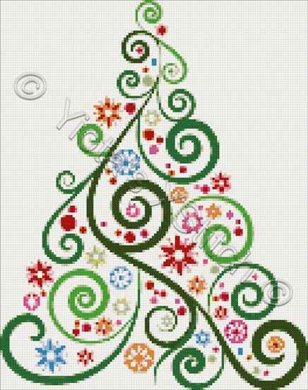 Abstract Christmas tree cross stitch