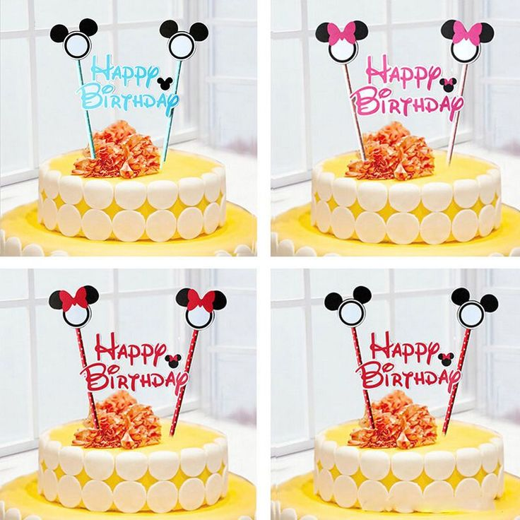 1Set Mickey Minnie Mouse Happy Birthday Cake Topper Flags Kids Party Decoration