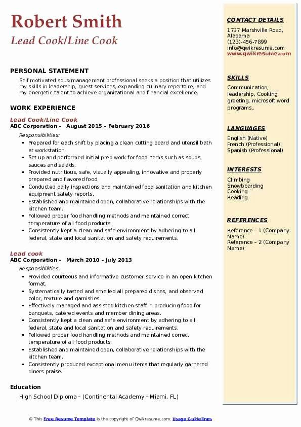 Line Cook Resume Examples Fresh Lead Cook Resume Samples Resume Examples Resume Resume Objective Examples