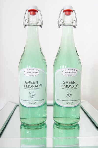 mint green wedding bottles
