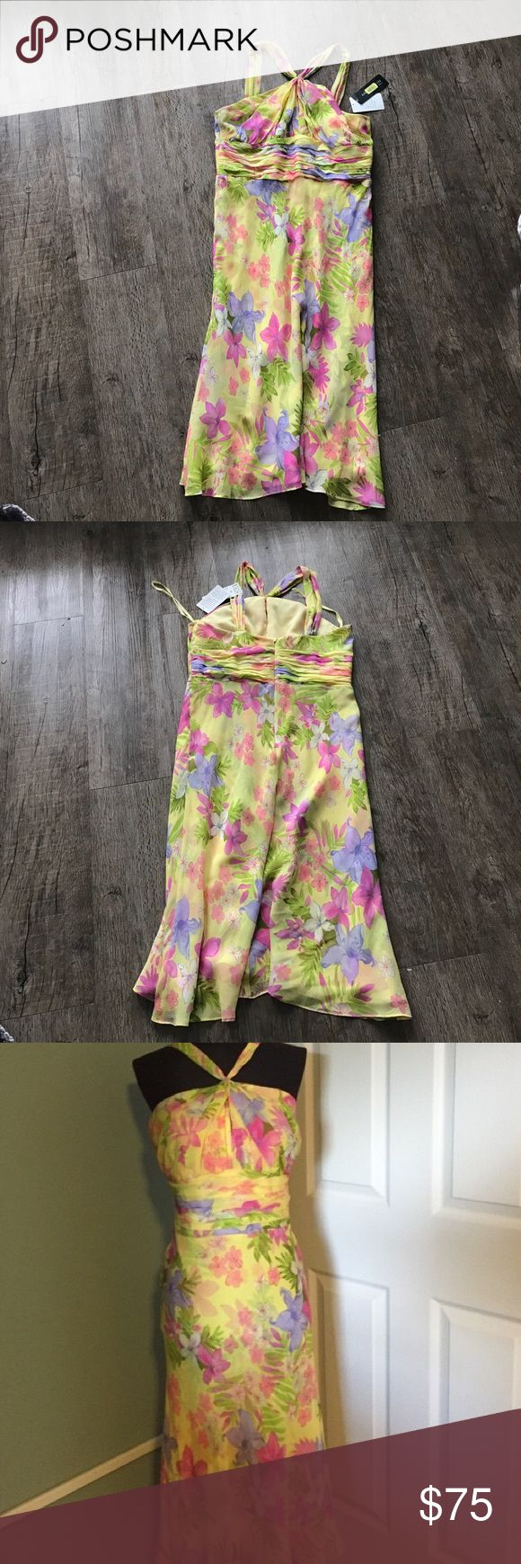 """Ann Klein Floral Multi Color Spring Dress Brand New with tags! Perfect for upcoming spring/summer season! Zipper in back. Bust - 18"""", Length - 41"""", Waist 17"""". Size 14 Ann Klein Dresses"""