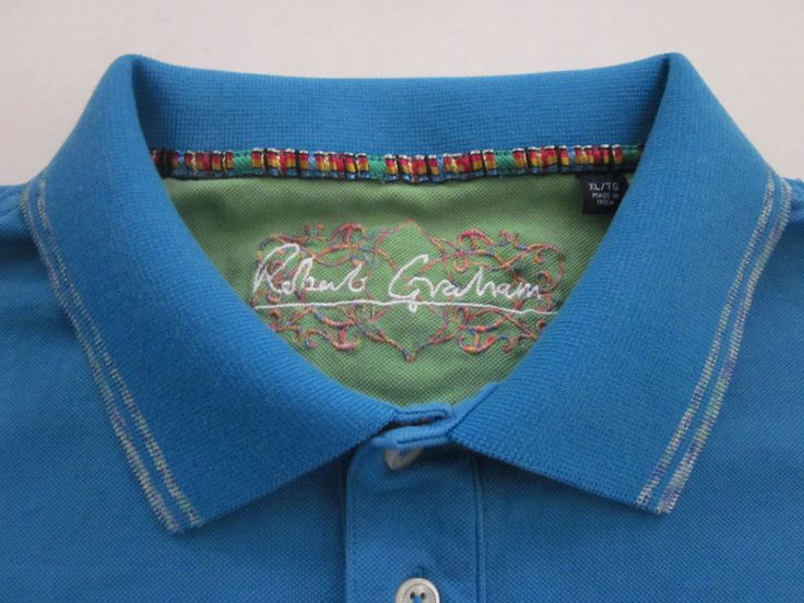ROBERT GRAHAM Men's Blue Embroidered 3 Button Luxury Polo Shirt XL XLarge #RobertGraham #PoloRugby