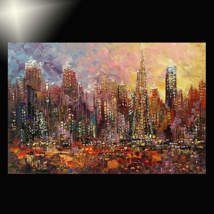 100 Hand Drawn City At Night 3 Knife Painting Modern: 38 Best Images About City Skylines On Pinterest