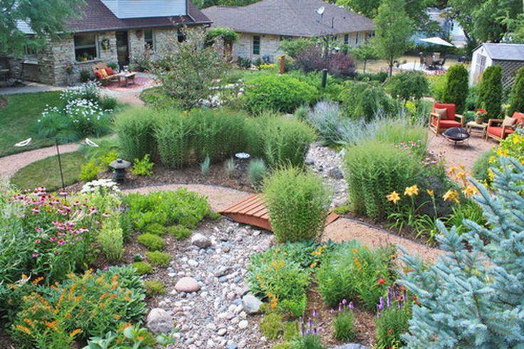 Rain garden with small bridge how to create a rain garden for Custom landscape design