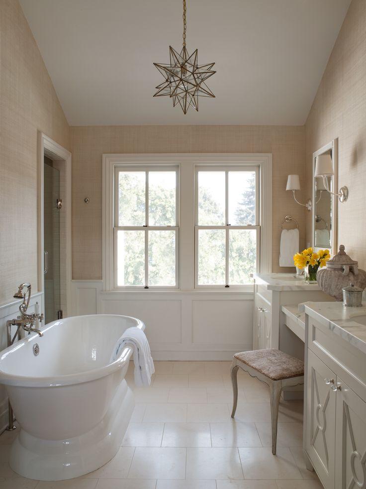 grasscloth wallpaper, wainscoting, star chandelier,white marble. benjamin dhong