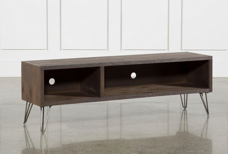 Eyes previously glued to the big screen will make their way down to take in one of our cool, contemporary Melrose TV stands. Available in 2 finishes, these lowboy consoles feature sturdy, seriously on-trend construction and fun, functional designs. Solid hardwood and white oak veneer bring beauty and quality, while stainless steel, hairpin-style legs elevate the look. With cord cutouts and shelves for media equipment, either version is a perfect addition to your space.