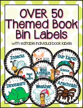 EDITABLE Themed Book Bin Labels with Individual Book Labels