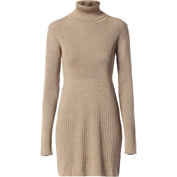 Diesel DINIK Dress ($450) ❤ liked on Polyvore featuring dresses, beige, diesel black gold, women, turtleneck dress, turtleneck mini dress, beige turtleneck, long sleeve dress and beige dress