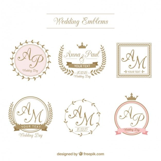 emblemas de casamento retro no estilo ornamental Vetor grátis                                                                                                                                                                                 Mais