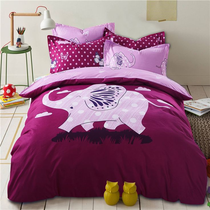 2016 New Children Bedding Set for Girls Purple Cartoon Happy Elephant Reversible Duvet Cover Flat Sheet Home Textile Full/Queen(China (Mainland))