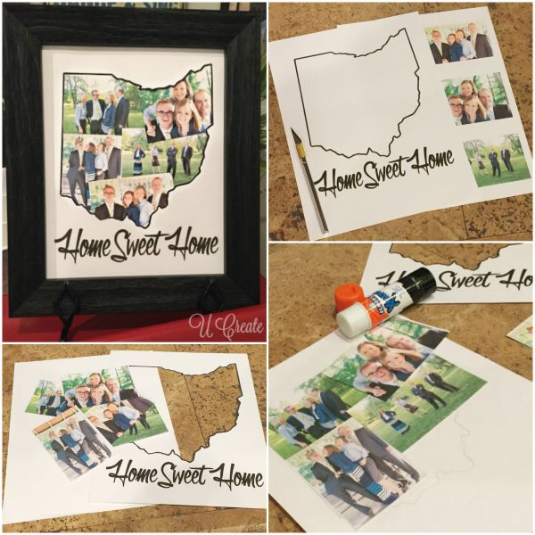 "We love this idea from @Ucreateblog ...personalize your own ""state"" photo mat by printing the large format with the Canon PIXMA iP8720 Crafting Printer @canonusa #getcreativewithcanon #crafting #diy"