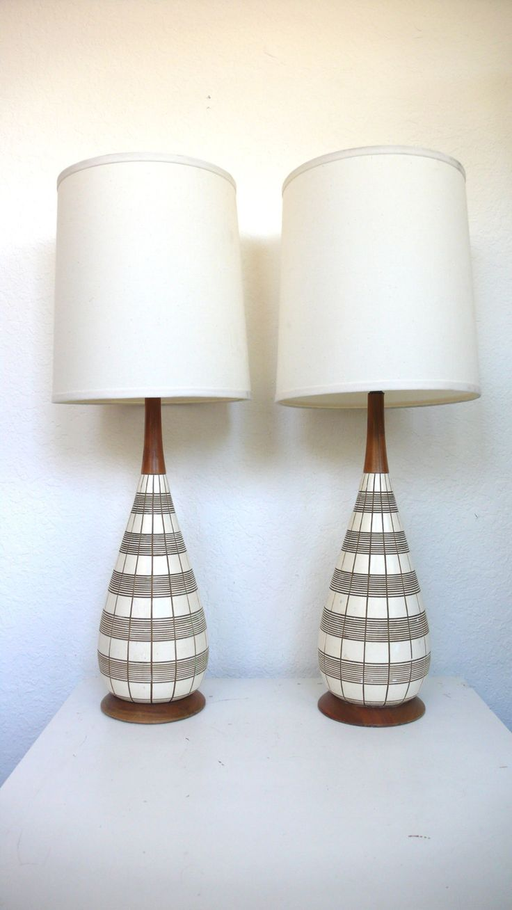 furniture mid century modern lamps using white linen shade and