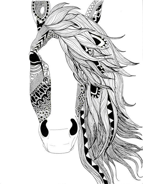 Horse illustration-pen-black and white-aztec pattern