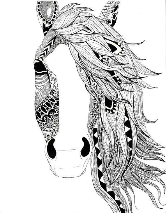 Horse illustration-pen-black and white-aztec pattern ...