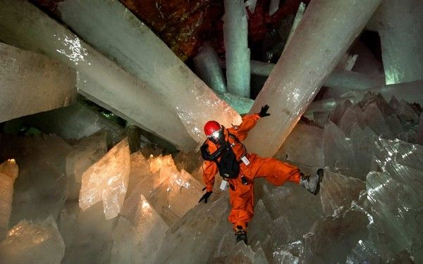 The spectacular Giant Crystal Cave is connected to the Naica Mine, located in Chihuahua, Mexico. 300 meters bellow the surface.  Its main chamber contains the largest selenite crystals ever found, some of them reaching 11 meters in length, 4 meters in diameter and about 55 tons in weight.