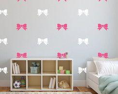 Adesivo laços pink e branco