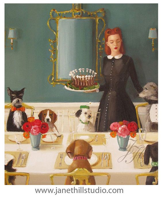 Miss Moon Was A Dog Governess.  Lesson Four  A by janethillstudio, $26.00