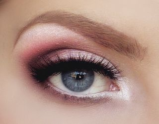 warm blush pink in the v, white on lid and tear duct and highlight, light taupe where the pink and white meet. slightly darker taupe in crease and as eyeliner, along with a brown eyeliner pencil. nyx jumbo eye pencil in milk on lower waterline, dark taupe liner along lower lashline. and  obviously, huge lashes.