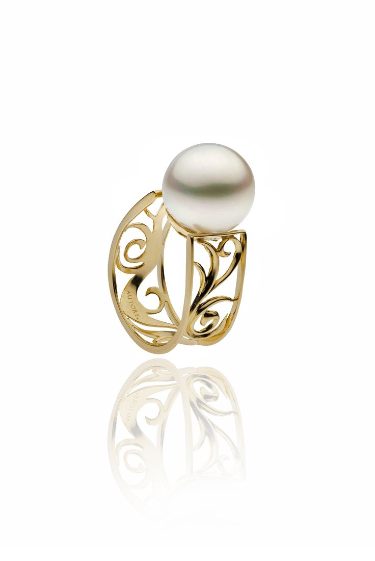 Autore Versailles Gate Ring  18k Yellow Gold with Diamonds and South Sea pearls. Inspired by the Palace de Versailles in Paris