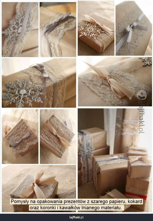 Jak zapakować prezent na święta? - Pomysły na opakowania prezentów z szarego papieru, kokard oraz koronki i kawałków lnianego materiału.