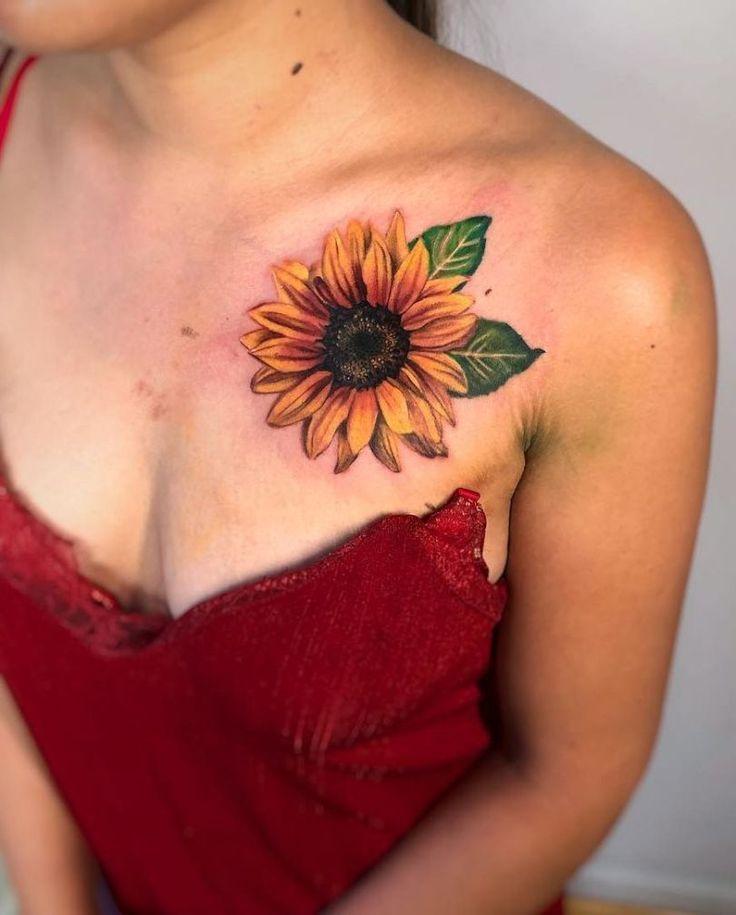 55+ Most Beautiful Sunflower Tattoos Ideas For Women in 2020 | Sunflower tattoo sleeve, Sunflower tattoo shoulder, Sunflower tattoo thigh