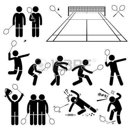 Badminton Player Actions Poses Stick Figure Pictogram Icons photo