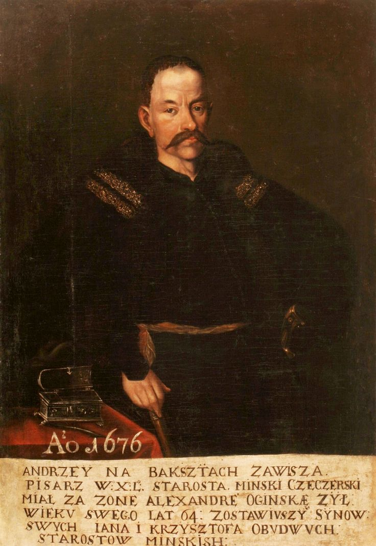 Portrait Andrzej Kazimierz Zawisza, Great Scribe of Lithuania by Anonymous, ca. 1650 (PD-art/old), National Arts Museum of the Republic of Belarus