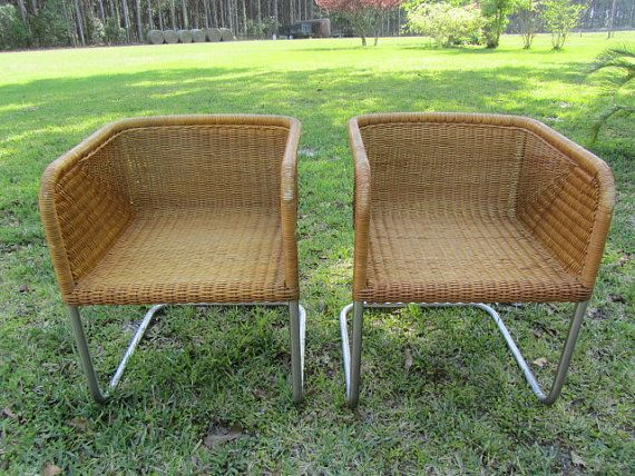 Wicker Basket Chair, Chrome And Wicker Chairs, Bucket Chair, Mid Century  Basket Chairs