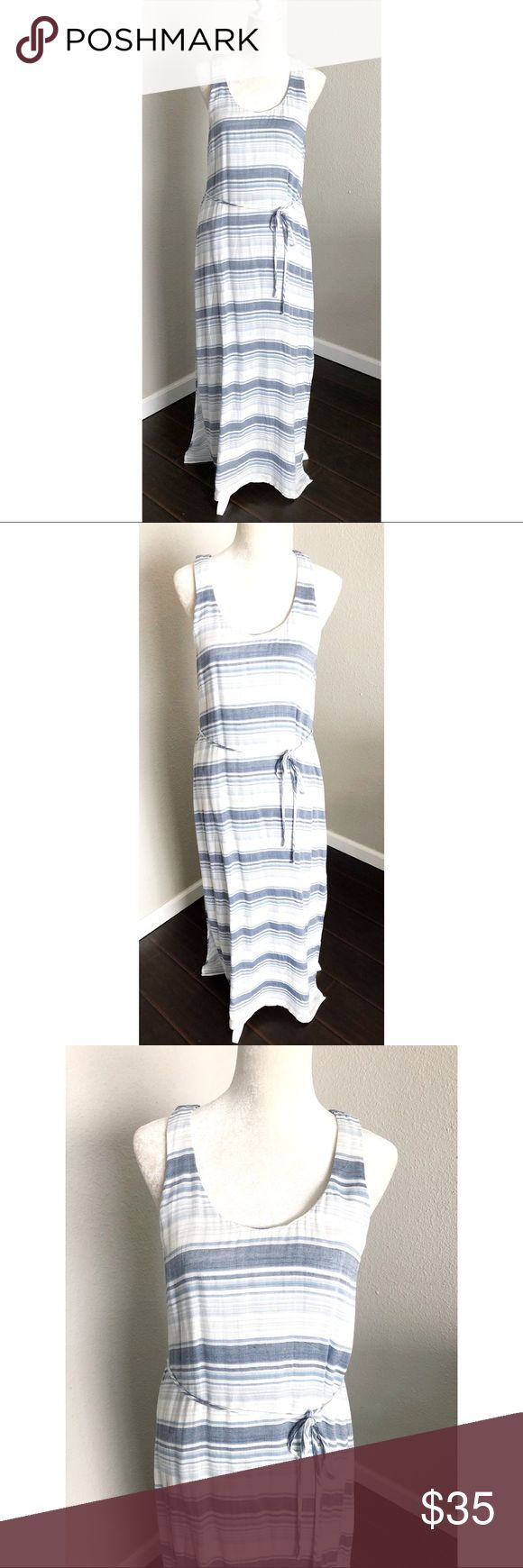 "Cloth & Stone Sleeveless Stripe Maxi Dress Size M Beautiful Anthropologie Cloth & Stone Striped Maxi Dress. This dress is so soft. It has two side slits and is in a size medium. It's blue and white. The measurements are: Bust 39"",  Waist: 38"", Hips: 40"", Top to bottom: 56"". Please contact me with any questions. Anthropologie Dresses Maxi"