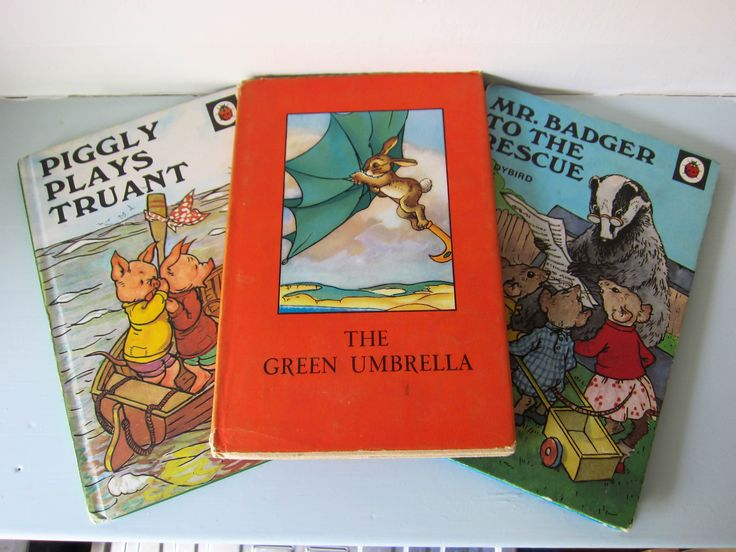 Ladybird book, Vintage ladybird books, Vintage children's story book, Piggly plays truant, The green umbrella, Mr badger to the rescue. by thevintagemagpie01 on Etsy