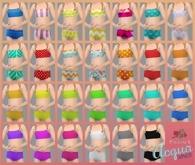 900+ FOLLOWERS GIFT! THANK U SWEETIES ♥ ACQUA swimwear for girls :) 12 random patterns + 15 solid colors. Tops and bottons are in separate files. Enjoy! DOWNLOAD
