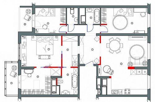 План квартиры, которая была выстроена на выставке в 2016 году.