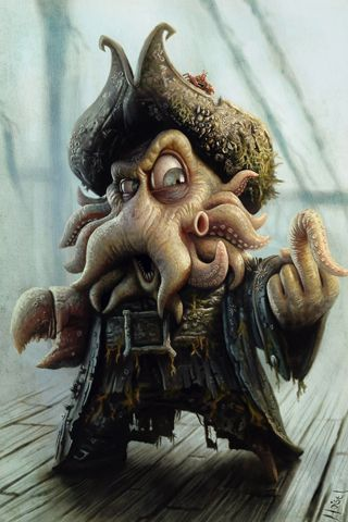 by tiago hoisel  tags : fanart  art pirates of the caribbean  disney  jack sparrow painting  caricature