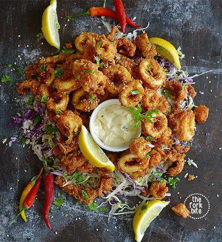 Calamars frits et aïoli au citron