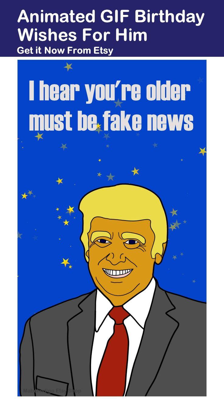 Animated ecard hilarious trump birthday wishes fake news