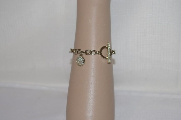 Anne Klein Silver Tone Pave Charm Gold Tone Link Toggle Clasp Bracelet