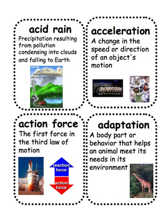 Here's a set of 500+ science picture vocabulary cards! These are available in 14 different files from ProTeacher. You must login to download. (Membership is free.)