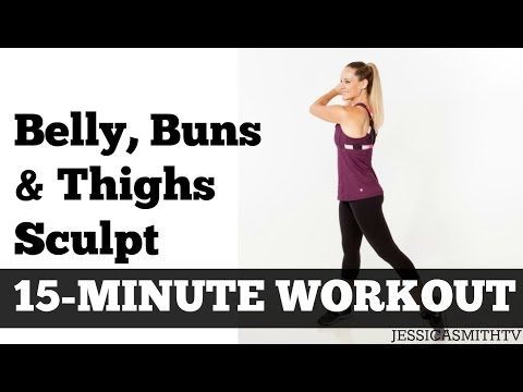 15 Minute Belly Buns + Thighs Sculpt | Fat Burning Home Exercise Video Inner Thighs Abs Butt - YouTube