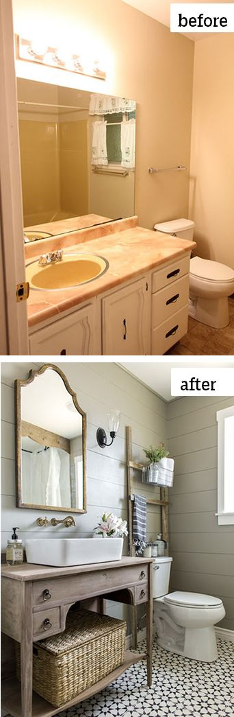 "Jenna of jennasuedesign.com transformed every inch of her 1970s nightmare of a bathroom into a space she describes as ""a little bit romantic, a little bit boho, and a little bit vintage farmhouse."" See how she did it here."