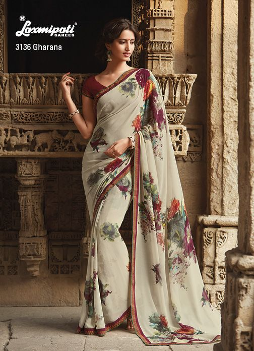 Along With The Choicest Colors And Prints, This cream marvel chiffon Saree Features Beautiful matching With Lace To Top It All.