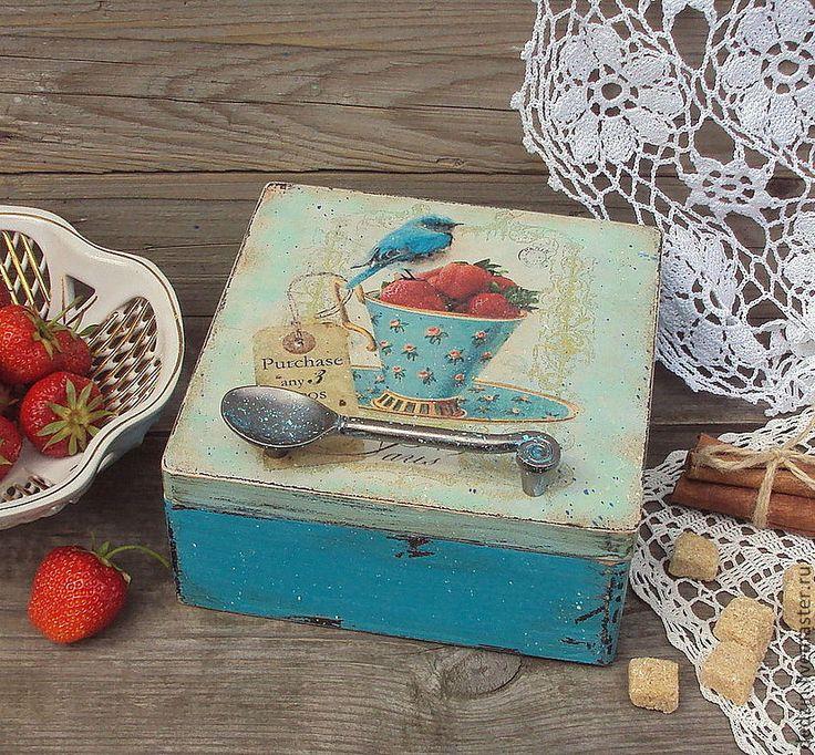 "Чайная шкатулка ""Любимая чашка"" деревянная шкатулка, короб - коробка для чая"