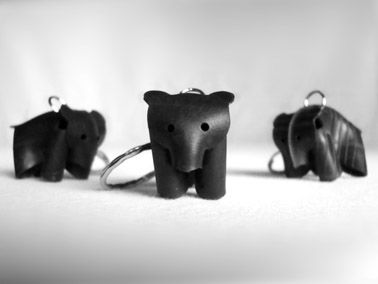 NALLE keyrings. Made out of recycled rubber from bycicle innertubes