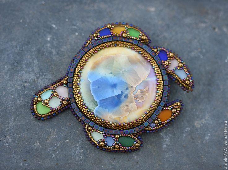 """Купить вышитая бисером брошь """"ЧЕРЕПАШКА аля ТИФФАНИ""""))) - радуга, черепашка, морская черепашка, брошь"""
