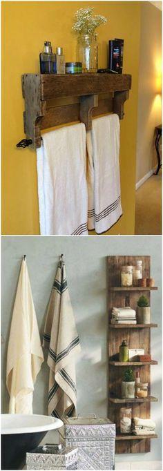 Reciclaje en el aseo o cuarto de baño. Palets y cajas de fruta. Visto en www.ecodecomobiliario.com