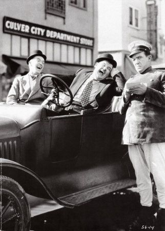 """Laurel and Hardy in """"Leave 'Em Laughing"""" Silent Feature 1928."""